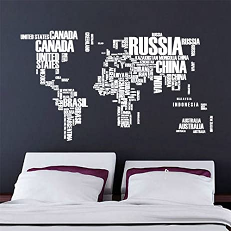 Amazon zmvise world map wall decals stickers removable zmvise world map wall decals stickers removable waterproof decorative pvc cool funny words large text gumiabroncs Images