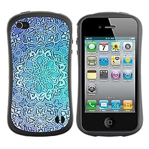 "Hypernova Slim Fit Dual Barniz Protector Caso Case Funda Para Apple iPhone 4 / iPhone 4S [Flor azul del trullo repetitivo patrón""]"