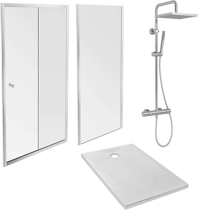 Jacob Delafon E63151-WPM - Pack de ducha IPSO (plato 100 x 80 + puerta corredera y fija + columna), color blanco, cromado y cristal transparente: Amazon.es: Bricolaje y herramientas