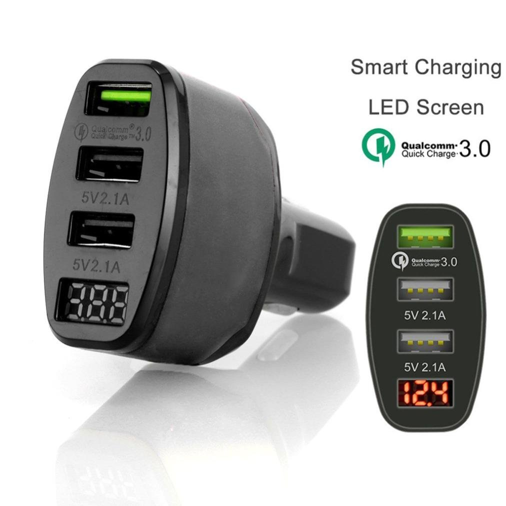 TAOtTAO - Cargador de coche con 3 puertos USB 4.2A y pantalla LED de carga rá pida para iPhone para Samsung