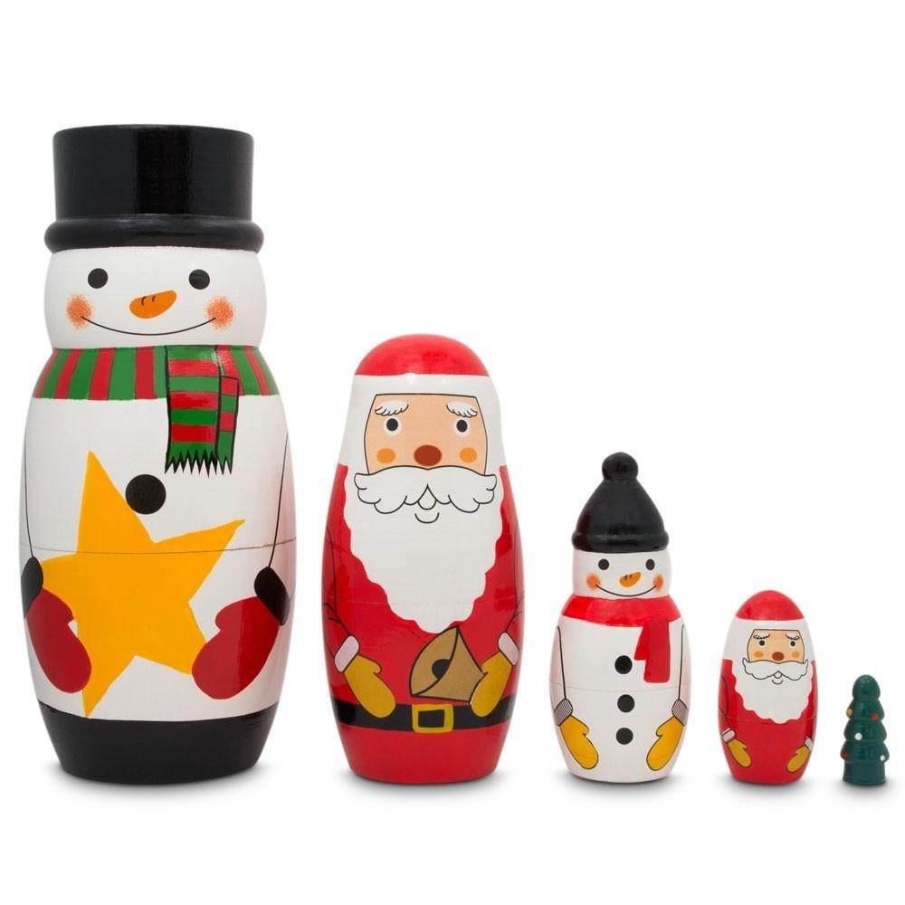 BestPysanky 5 Santa Claus Snowmen Christmas Tree Wooden Nesting Dolls