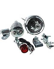 Blesiya 12V 6W Dynamo Headlight & Tail Light Kit Set Fits Bicycles Motorized Bike