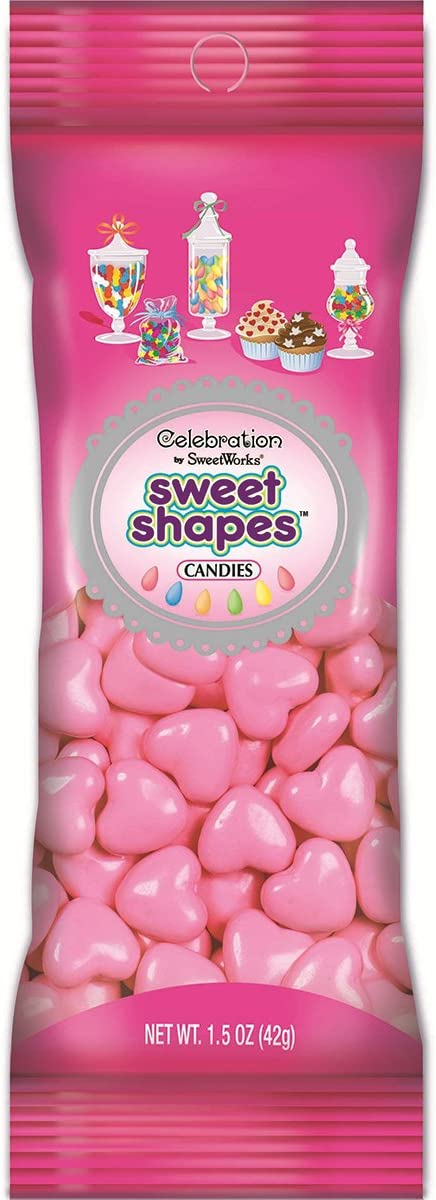 Light Pink 1.5 oz SweetWorks Hearts Shapes Candies Peg Pouch