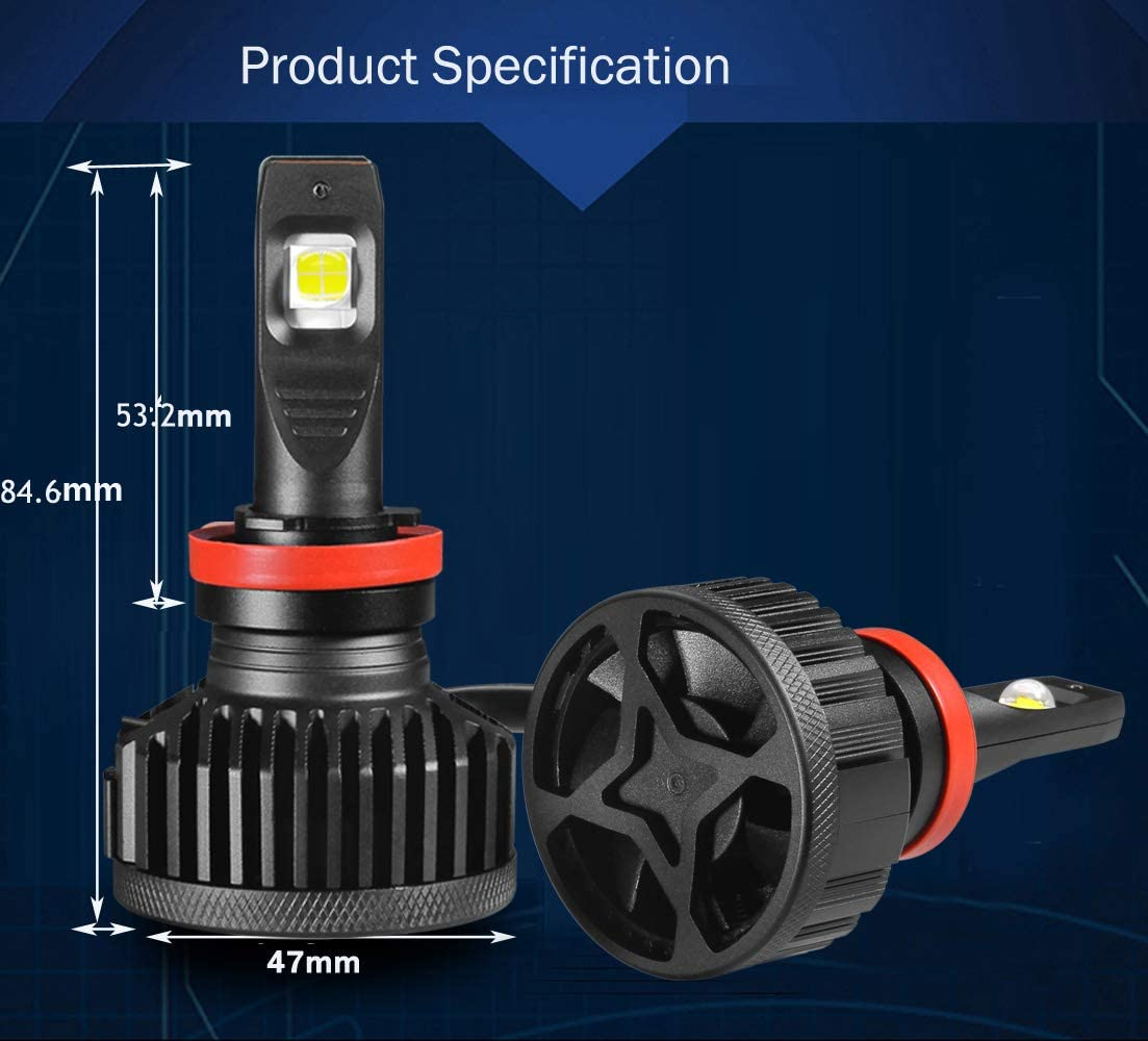 KOOMTOOM LED Headlight Bulb H8//H11//H9 Kit 90W 6500K Xenon White-2 YR Warrenty Cree XHP70 Chip LENS Adjustable Beam 360 Dgree 2 x 9000lm CANBUS ERROR FREE High Low Beam