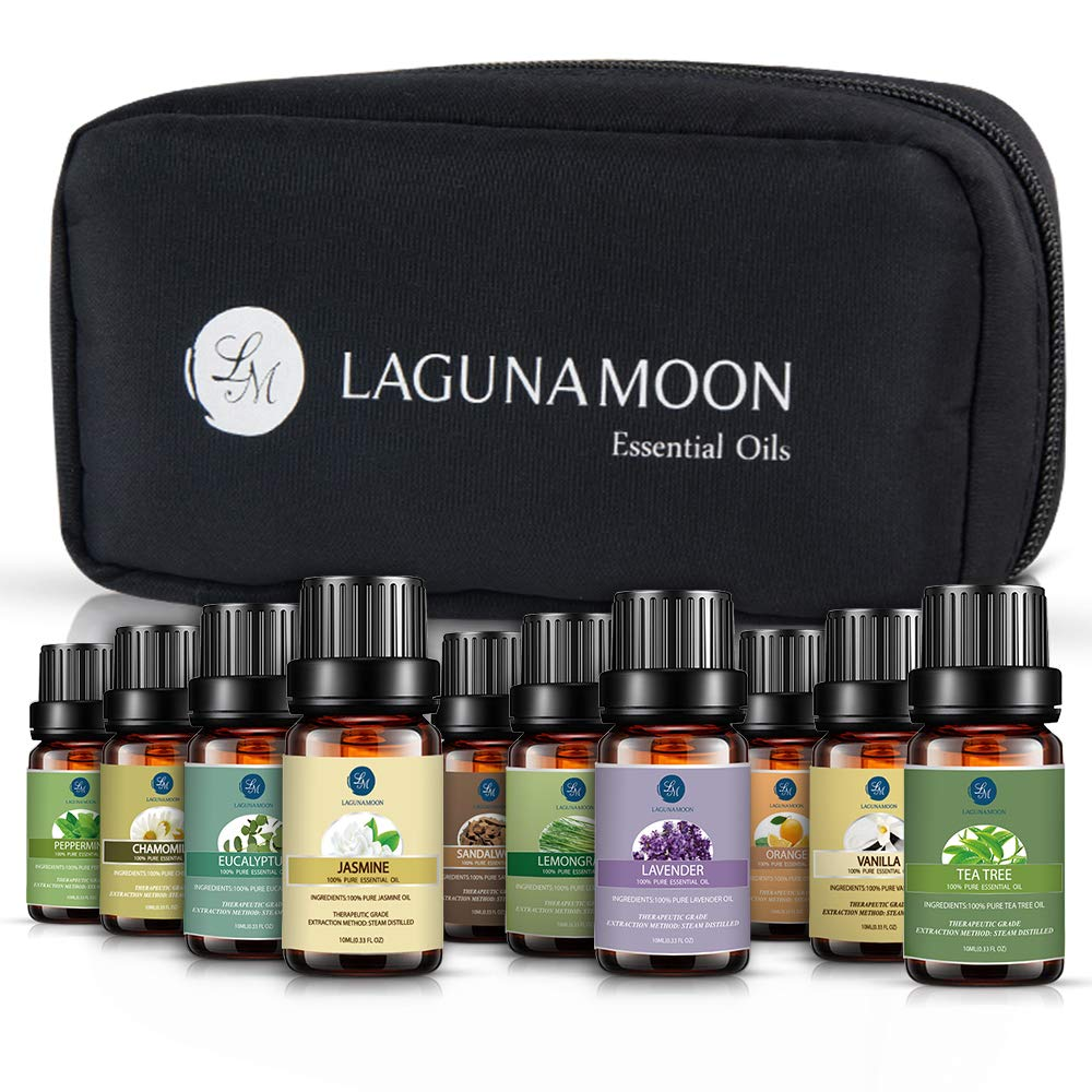 Lagunamoon Essential Oils with Travel Bag,Pure Aromatherapy Oils Tea Tree Lavender Peppermint Eucalyptus Sandalwood Lemongrass Orange Chamomile Jasmine Vetiver,Therapeutic Grade by Lagunamoon