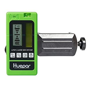 Huepar LR-5RG Laser Detector for Laser Level - Green and Red Beam Receiver for Use with Pulsing Line Lasers, Two-Sided Back-lit LCD Displays, Automatic Shut-Off Timer, Clamp Included