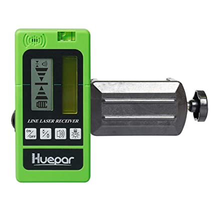 Huepar LR-5RG Laser Detector for Laser Level - Green and Red Beam Receiver  for Use with Pulsing Line Lasers, Two-Sided Back-lit LCD Displays,