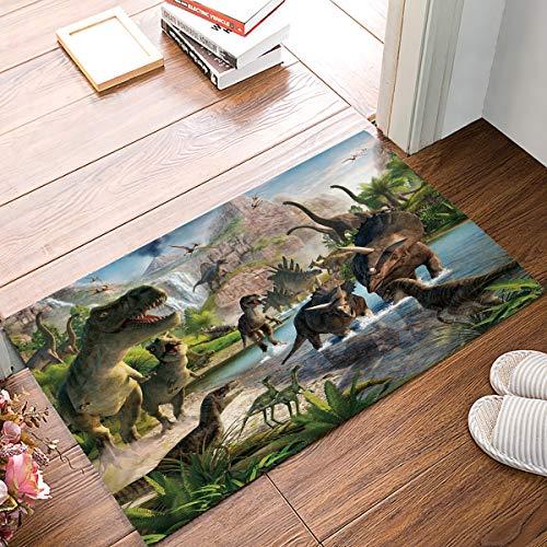 (LBDecor Entrance Door Mat, Jurassic Theme Low Profile Decor Doormat, Tyrannosaurus Rex Dragon Park Non-Slip Carpet Rugs with Felt Decorative for Home/Indoor/Outdoor - 18