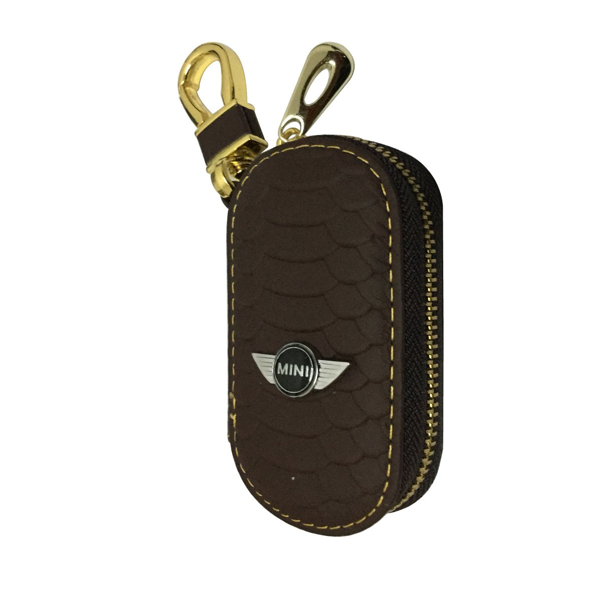New 1pcs Black Leather Eye Drop Shape Car Key Wallet Zipper Case Keychain Coin Holder Metal Hook Bag Collection For Chevrolet Car Vehicle Auto Lover