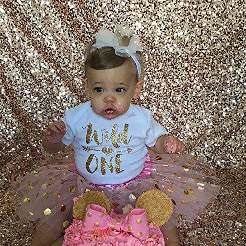 Olive Loves Apple Wild One Gold Glitter Girls 1st Birthday Bodysuit,Gold,6-12 months short sleeve by Olive Loves Apple (Image #3)