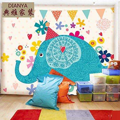 AQSGH Papel pintado de la habitación de los niños wallpaper de la habitación de jardín de infantes murales de dibujos animados papel pintado de la elefante feliz lindo grande, costura de tela
