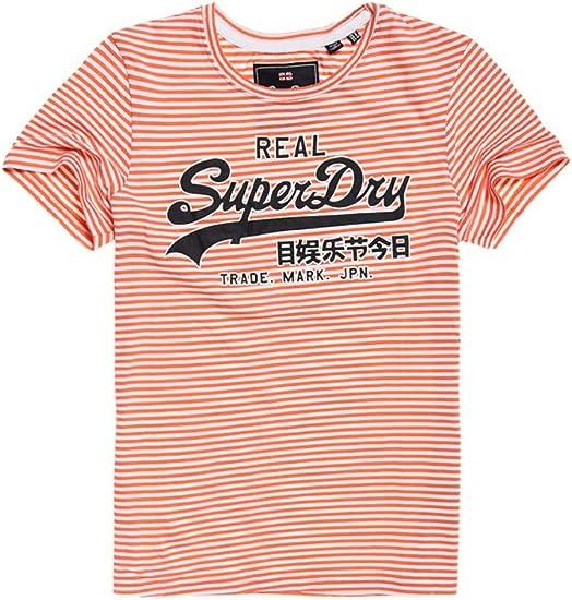 Superdry Vintage Logo Stripe Entry Tee T Shirt Femme