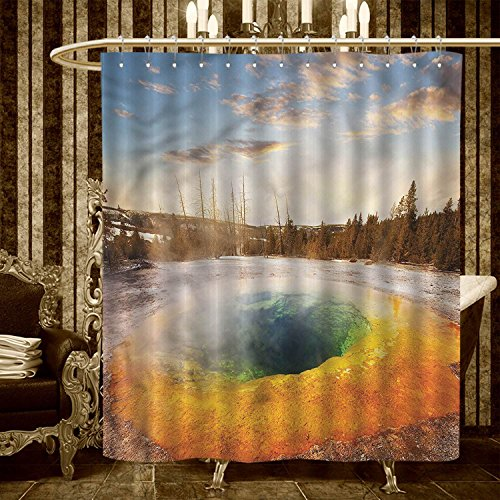 30OFF Yellowstone Shower Curtains Sets Bathroom Morning Glory Pool In National Park Winter