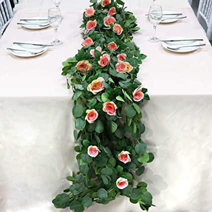 Amazon Com Ourwarm 6 5ft Artificial Rose Flower Table Runner Faux