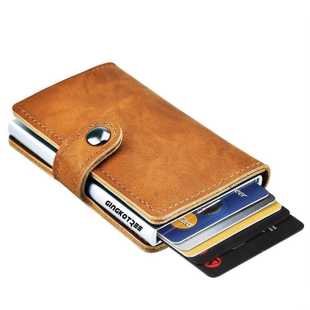 GingkoTree Credit Card Holder RFID Blocking Wallet Slim Wallet PU Leather Vintage Aluminum Business Card Holder Automatic Pop-up Card Case Wallet Security Travel Wallet(Black) GKT0001BK