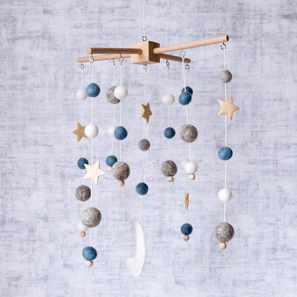 Baby Crib Mobile Wooden Wind Chime Bed Bell,Nursery Mobile Crib Bed Bell Baby Bedroom Ceiling Wooden Beads Wind Chime Hanging by let's make