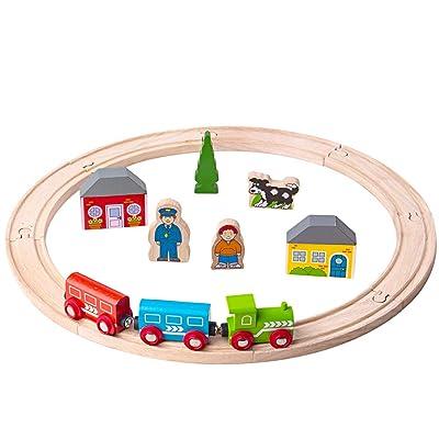 Bigjigs Rail My First Wooden Train Set - Beginner Railway Set: Toys & Games