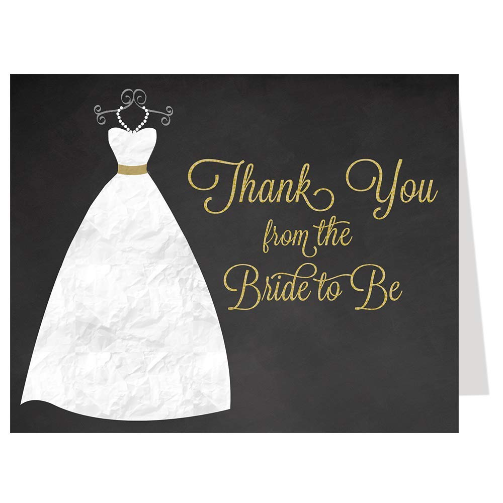 Bridal Shower Thank You Cards, Chalkboard, Wedding, Gown, Dress, Gold, Bride to Be, Future Mrs., Soon to Be Mrs., Blackboard, Set of 50 Folding Notes with Envelopes, Chalkboard Gown (Gold)