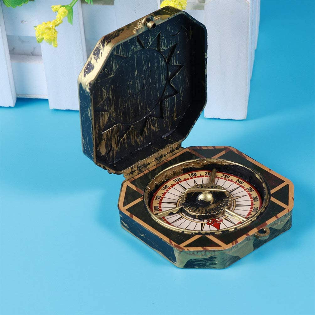 NUOBESTY 6Pcs Christmas Pirate Compass Toy Antique Captain Compass Toy Pocket Marine Compass for Christmas Carnival Day of The Dead Party Favor Gift