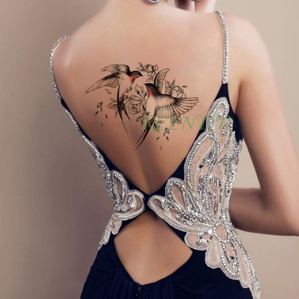 Adesivo per tatuaggi impermeabile Peonia Fiore Farfalla Tatto ...