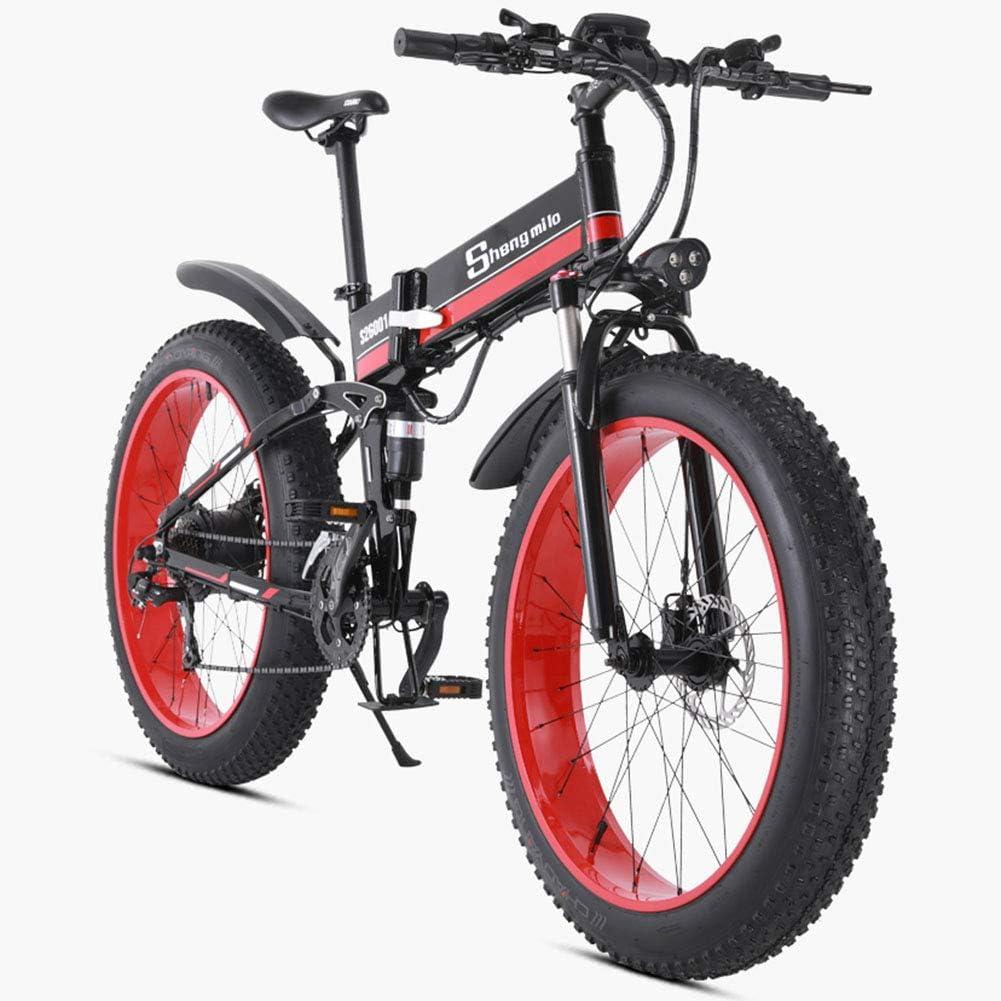 電動自転車折りたたみ式マウンテンバイク48 v 1000 w大人アルミ合金7スピード電動自転車ダブルショックアブソーバー26インチタイヤディスクブレーキとフルサスペンションフォーク,黒 黒