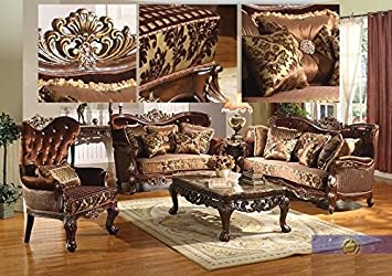 Amazon.com: Formal Traditional Kings Brand Sofa Love seat & Chair 3 ...