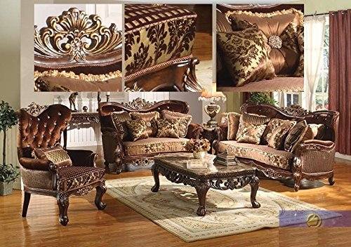 Formal Traditional Kings Brand Sofa Love seat & Chair 3 Pc Antique Living room (Del Mar Sectional Sofa)