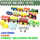 FLASH SALE   The Premium 12 Pcs Wooden Engines & Train Cars Collection With 3 Extra Animals, 100% Compatible with Thomas Railway, Brio Tracks, and Chuggington System + Free Gift Box Design