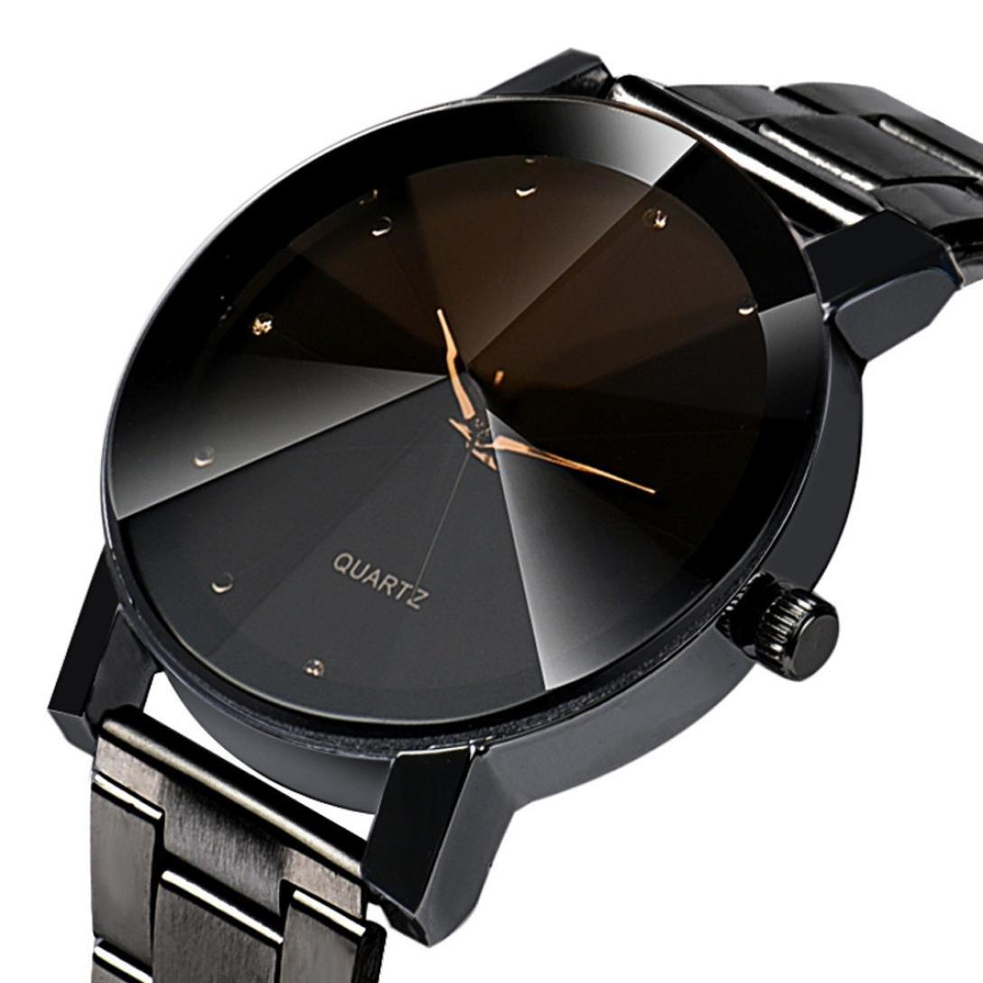 YANG-YI Fashion Women Crystal Stainless Steel Analog Quartz Round Wrist Watch Bracelet (Black) by YANG-YI (Image #5)