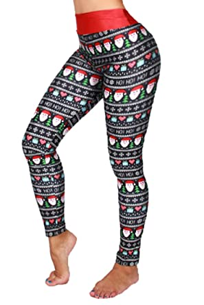 pink queen womens christmas tree printed leggings high waist pants yoga tights pattern 1 one size