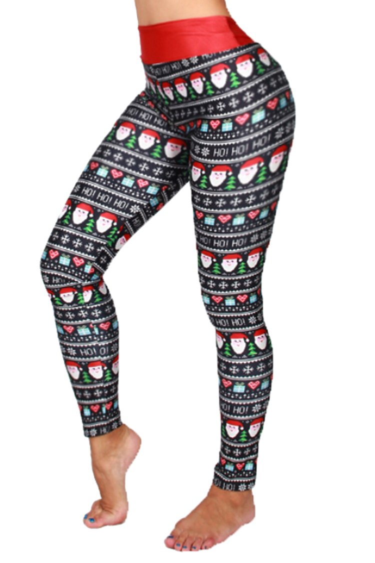 Pink Queen Women's Christmas Tree Printed Leggings High Waist Pants Yoga Tights Pattern 1 one size(US XS-M)