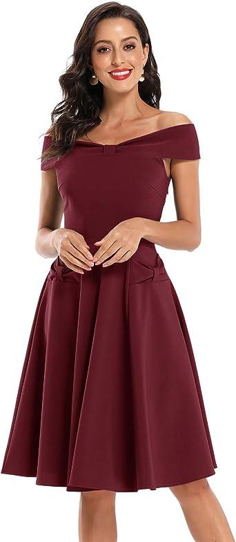 Belle Poque Vestido para Mujer Retro de la Vendimia de los A/ños 1950 Plisada Vestido del Hombro 126