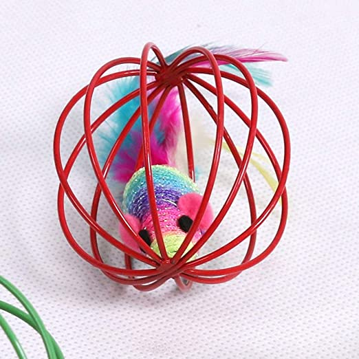 Amazon.com : Best Quality Randomly Funny Portable Sphere Hollow Ball Artificial Feather Mouse pet cat Teasing Playing Toy Gift : Pet Supplies