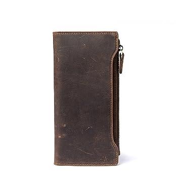 6108355c95a7a Sucastle Herren Leder Geldbörsen Portemonnaie Brieftasche RFID Schutz Große  Kapazität Vintage Design