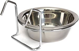 Stainless Steel Food Water Cup with Bolt Hooks for Pet Bird Crates Cages Coop Dog Cat Parrot Bird Rabbit Pet (Medium,138cm)