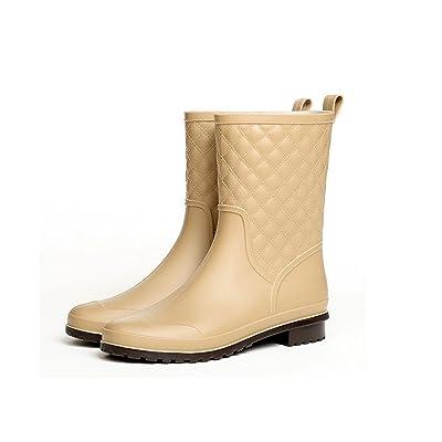Luise Hoger 2017 New Platform Rain Boots Women Warm Shoes Woman Thicker Ladies Waterproof Rubber Botas Water Rainboots Women'S Boots 7.5