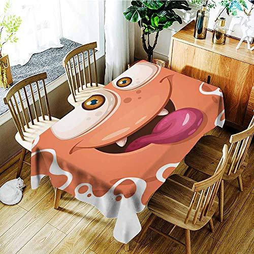 AGONIU Rectangular Tablecloth,Funny Cute Crazy Monster Characters Halloween illustration2,Modern Minimalist,W54x72L]()