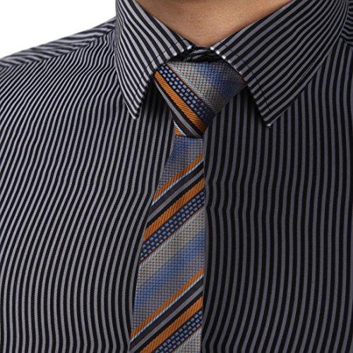 Designer Skinny Ties - DAE7A03F Grey Slate Blue Stripes Microfiber Skinny Tie Designer Thin Tie By Dan Smith