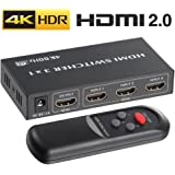 4K HDMI 2.0 Switch 3x1, ROOFULL 3 In 1 Out HDMI Switch 4K 60Hz HDR Dolby Vision HDCP 2.2 3D 1080P Switcher with IR Remote for PS4 Pro, UHD TV, XBox One/360, Apple TV (3 Ports)