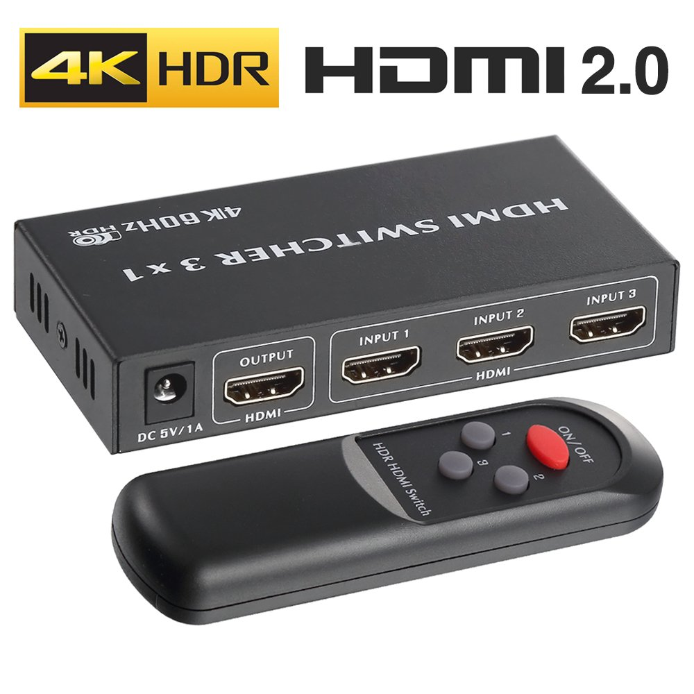 4K HDMI 2.0 Switch 3x1, ROOFULL 3 in 1 Out HDMI Switch 4K 60Hz HDR Dolby Vision HDCP 2.2 3D 1080P Switcher with IR Remote, Compatible for PS4 Pro, UHD TV, Xbox One/360, Apple TV (3 Ports)