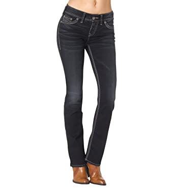 Amazon.com: Silver Jeans Women's Suki Mid-Rise Slim-Super Stretch ...
