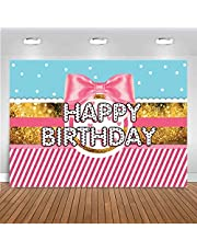AIIKES 7x5FT Pink Bowknot Striped Backdrop Gold Glitter White Dots Background Girls Baby Birthday Party Photography Backdrops Cake Table Banner Baby Shower Decoration Photobooth Props 11-551 …