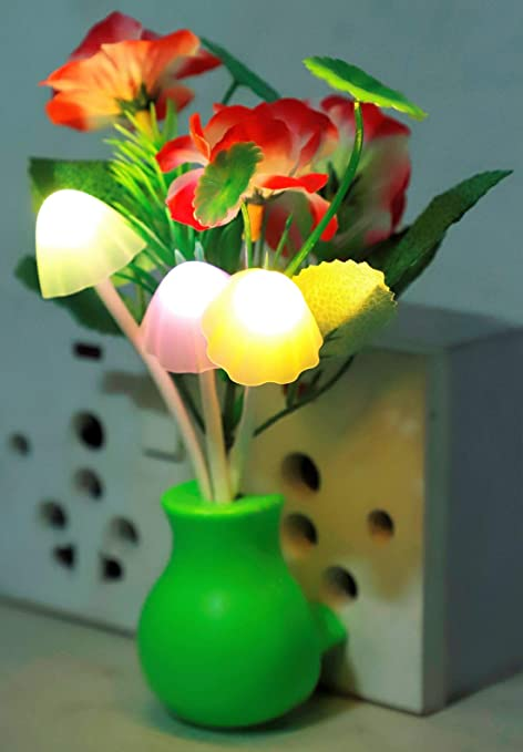 PRO365 Night Sensor Lamp Automatic On/Off Nature Illumination with Flowers (Green VASE)