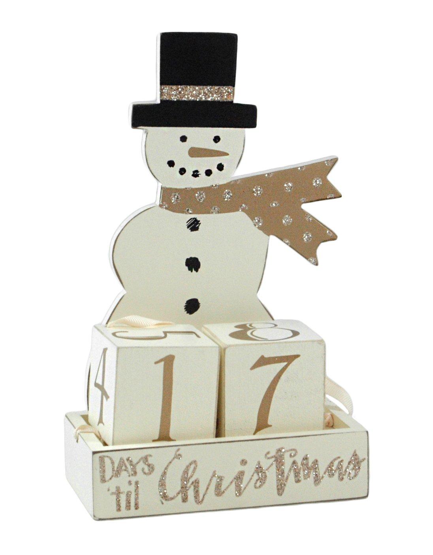 Winter Snowman Days til Christmas Wooden Advent Calendar Set