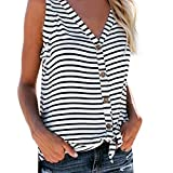 Summer Tank Tops for Womens,V-Neck Button Cotton Stripe T-Shirt Tie Front Knot Loose Sleeveless Tops Blouse Yamally White