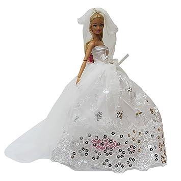 Amazon.es: ZITA ELEMENT Vestido Largo de la Princesa Blanca de la ...