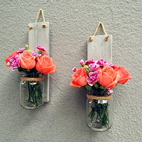 Set of Two Country Rustic Mason Jar Hanging Wall Sconces Wall Planter, Rustic Wall Vase Candle Holder, Home Decor Housewarming Gift Wall Hanging Sconce