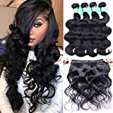 #10: Brazilian Hair Body Wave 4 Bundles Deals Remy Human Hair Extensions Weave Unprocessed Brazilian Virgin Hair Bundles Double Weft 50g/Bundle Totally 200g (10 10 10 10, Natural Black Color)