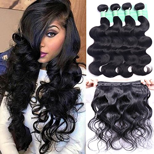 Brazilian Hair Body Wave 4 Bundles Deals Remy Human Hair Extensions Weave Unprocessed Brazilian Virgin Hair Bundles Double Weft 50g/Bundle Totally 200g (10 10 10 10, Natural Black Color) (Brazilian Bundle)