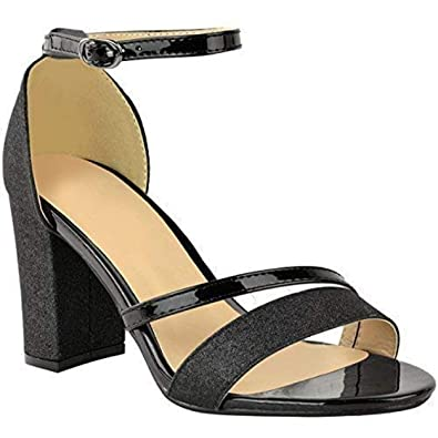22cdaa78b291 Womens Sparkle Diamante Low Mid Heel Sandals Wedding Bridal Prom Ladies  Party